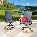 Festival Depot 2 Pieces Patio Metal Swivel Chairs All-Weather Bistro Dining Rocker Chairs Garden Outdoor Backyard Deck Furniture, Blue Textile Sling Mesh Black Steel Frame