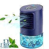 Condizionatore Portatile Personale, Raffreddatore D'aria, 4-in-1 Raffrescatore Ventilatore Umidificatore Depuratore, con 3 Velocità,Timer 2/4h, 7 Colori Luce, per Casa e Ufficio