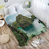 AngelDOU Warm air Conditioner Flannel Blanket W72 xL78 Landscape of Majestic Cliff in Philippines Wild Hot Nature Resort Off Picture for Bed Cover Sofa car use.