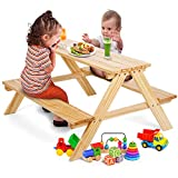 WilBee Kids Picnic Table Set, Toddler Table for Babies or Children, Table & Chair Bench Set in Backyards, Lawns, Garden and Beaches - Wooden Outdoor Activity Table