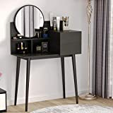 Tribesigns Vanity Table Makeup Table with Round Mirror, Small Dressing Tables with Drawers Makeup Vanity Table (Black)