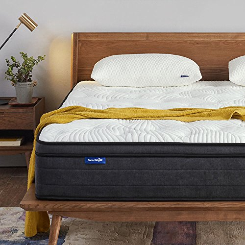 Sweetnight Queen Mattress in a Box - 12 Inch Plush Pillow Top Hybrid Mattress, Gel Memory Foam for Sleep Cool, Motion Isolating Individually Wrapped Coils, Queen Size