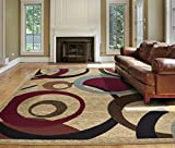 Ottomanson Royal Abstract Circle Area Rug, 5'3'X7', Beige