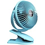 BESKAR 10000mAh Rechargeable Battery Operated Mini Clip Fan with 40 Hours(MAX) Sturdy Clamp 3 Speeds Fast Air Circulating Desk Fan for Outdoor/Indoor Beach Golf Cart Treadmill Office