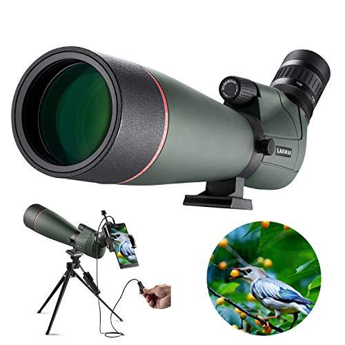 LAKWAR Telescopio Terrestre Profesional, Aumento de 20-60x, 80mm Lente Grande FMC, con Clip para Móvil +...