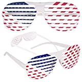 American Flag USA Patriotic Shutter Shades Sunglasses - 12 Pairs Fourth of July Party Favors...