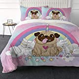 ARIGHTEX Ultra-Soft Micromink Sherpa Comforter Bed Set - 3D Lightweight, Fuzzy Duvet Blankets - Colorful, Polyester Filler Bedspreads with 2 Pillow Shams (Cute Pug Unicorn, Twin)