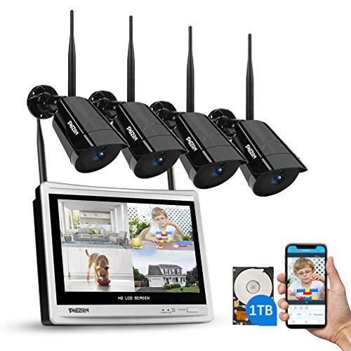 TMEZON 4CH Kit di Sorveglianza Videosorveglianza Wifi con Monitor LCD da 12' Sistema di Videosorveglianza 1080P Plug e Play Motion Detection Visione Notturna Accesso Remoto 1TB HDD