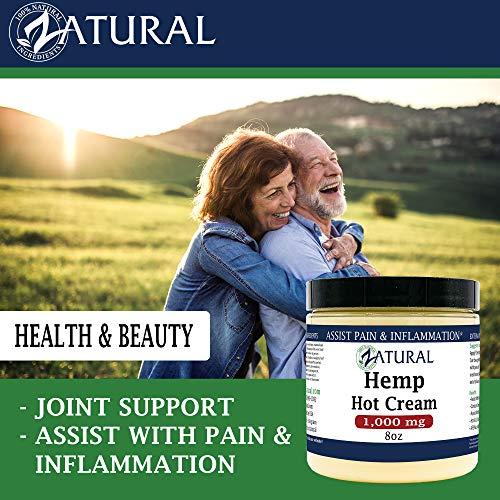 Hemp Hot Cream-Hemp Oil-Organic Hot Cream-Anti Cellulite-Muscle Cream-Pain Support (1,000mg) 3