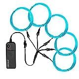 Zitrades EL Wire, Portable Neon Lights EL Wire Ice Blue 5 by 1 Meter/ 3ft, Neon EL Wire Kit for Parties, Blacklight Run, DIY Decoration