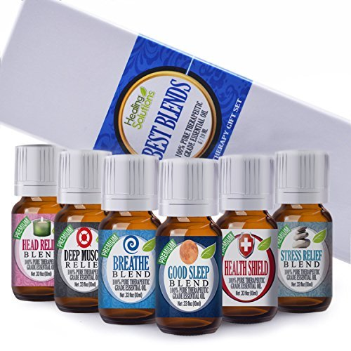 Best Blends Set of 6 100% Pure, Best Therapeutic Grade Essential Oil - 6/10mL (Breathe, Good Sleep, Head Relief, Muscle Relief, Stress Relief, and Health Shield)