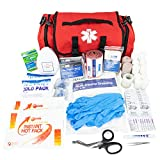 LINE2design Emergency Fire First Responder Kit - Fully Stocked First Aid Rescue Trauma Bag - EMS EMT Paramedic Complete Lifeguard Medical Supplies for Natural Disasters - Red