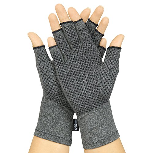 Vive Arthritis Gloves with Grips - Men & Women Textured Fingerless Compression - Open Finger Hand Gloves for Rheumatoid and Osteoarthritis - Arthritic Joint Pain Relief for Computer Typing (Medium)