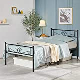 YAHEETECH Classic Metal Platform Bed Frame with Headboard and Footboard Flower Design Mattress Foundation for Adults Girl Boy Easy Set Up Structure Twin Size Black