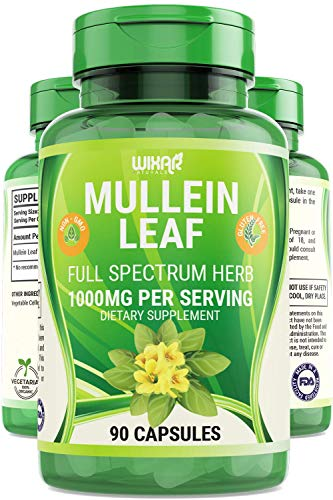 Wixar Naturals Mullein Leaf Capsules - 90 Capsules - Herbal Supplement Supports Healthy Respiratory Function & Mucous Membranes - 1000 mg - Natural Mullein for Lung Cleanse Support