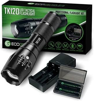 Complete LED Tactical Flashlight Kit - EcoGear FX TK120: High Lumens with 5 Light Modes, Water Resistant, Zoomable - Includes Rechargeable Batteries and Battery Charger - Perfect Gift for Men