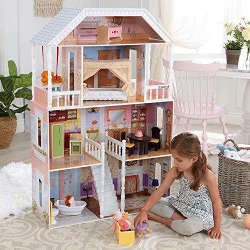 Image 9 - Kidkraft - 65023 - Maison de Poupées en Bois Savannah Incluant Accessoires et Mobilier, 4 Étages de Jeu pour Poupées 30 cm