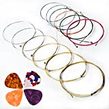 Cordes De Guitare Acoustique, Kinbom 2 ensembles de 6 cordes de guitare, 1 paquet d'or et d'argent avec 1 mélange de couleur (cadeau: 4 photos)