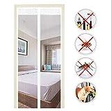 EXTSUD Moustiquaire de Porte Magnétique Fermeture Automatique Rideau Porte Anti insectes avec Aimants Sans Perçage (110x220 cm, Blanc)