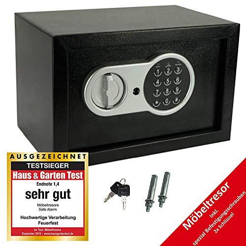 JUNG Safe-Alarm elektronischer Tresor - 14L Fassung, Möbeltresor mit Zahlenschloß + 2 Notschlüssel, Kompakte 31x20x20cm -3,8 kg, Doppelstahlbolzen Sicherheitsbox für Hotel, Büro und Heim,schwarz