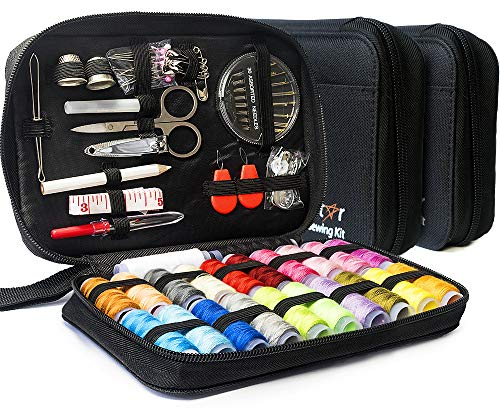 Sewing-KIT-Set-with-Over-100-Accessories-24-Mixed-Color-Threads-for-Emergency-Sewing-Repairs-at-Home-in-The-Office-Travel-Trips-Beginner-Mini-Sew-Kits-Black-Pack-of-2