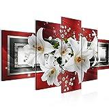 Runa Art - Tableau Lis Fleurs 200 x 100 cm 5 Parties XXL Decoracion Murale...