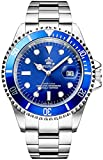 REGINALD Men's Watch Luminous Quartz Rotatable Bezel Sapphire Glass Silver Stainless Steel Band and Case Waterproof Sports Blue Watch (Blue Dial)