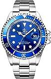 REGINALD Men's Watch Luminous Quartz Rotatable Bezel Sapphire Glass Silver Stainless Steel Band and Case Waterproof Sports Blue Watch (Blue Dial)