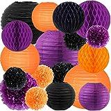 NICROLANDEE Party Decorations Orange Black Purple Tissue Pom Pom Lantern Honeycomb Ball Decorations for Birthday Home Decor Horror Party Supplies