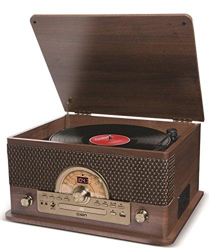 Ion Audio Superior Lp - Chaîne Hi-Fi 7-En-1 avec Platine Vinyle 3 Vitesses (33, 45 Et 78), Lecteurs Cd/Cassette, Radio Am/Fm, Lecture/Enregistrement Usb, Bluetooth, Enceintes Intégrées