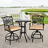 Hanover TRADDN3PCSW-BR Bistro Set in Tan Traditions 3-Piece Rust-Free Aluminum High Dining Outdoor Pati