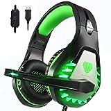 Pacrate 7.1 Surround Sound Gaming Headset mit LED Leuchten USB Einstellbarer Kopfhörer mit Rauschunterdrückung und Mikrofon für PC und MacBook