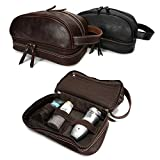 YAAGLE Men's Genuine Leather Brown Travel Cosmetic Wash Toiletry Bag (brown)