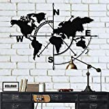 DEKADRON Métal Carte du Monde – Métal Weltkarte – 3D Mural Silhouette Décoration Murale en Métal Home Office Décoration Chambre à Coucher Salle de Séjour Décor Sculpture (117 x 91 cm)