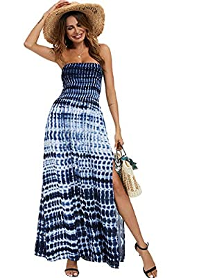 100%Viscose,Super comfortable and lightweight. Tube top,off shoulder, strapless, floral printed bohemian dress, lightweight also, super cute casual dress for summer time. True to size,Model wears size Small. This casual maxi dress,can wear as daily d...