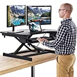 FDW Adjustable Height 32 Inches Steel Standing Desk Coverter Stand Up Desk Home Office Computer Desk Workstation,Black