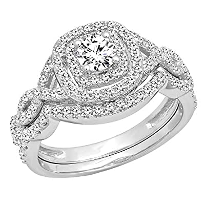 Other ring sizes may be shipped sooner. Most rings can be resized. Satisfaction Guaranteed. Return or exchange any order within 30 days. Crafted in 14K White Gold Diamond Color / Clarity : I-J / I1-I2. Diamond Weight : 1.00 ct. tw. Dazzlingrock 90 Da...