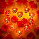 10 Pièces Bougies Coeur Bougie d'Amour Romantique Bougie Chauffe-Plat sans Fumée avec 200 Pétales Artificiels de Rose en Soie Pétales de Dispersion Fille...