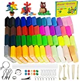 Polymer Clay Starter Kit, CiaraQ 50 Colors (0.7oz/Block) Oven Bake Modeling Clay, Moderately Firm, CiaraQ CPSC Conformed Non-Toxic Molding DIY Magic Clay with Sculpting Tools for Kids, Artists.