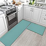 DEXI Kitchen Rugs and Mats Cushioned Anti Fatigue Comfort Runner Mat for Floor Rug Waterproof Standing Rugs Set of 2,17'x29'+17'x59', Turquoise