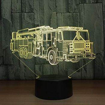 Camion de Pompier Voiture Lampe de Table Changement de Couleur Camion de Pompier Longue Voiture Nuit lumière Sommeil léger Dispositif Chambre décoration Enfants Cadeau