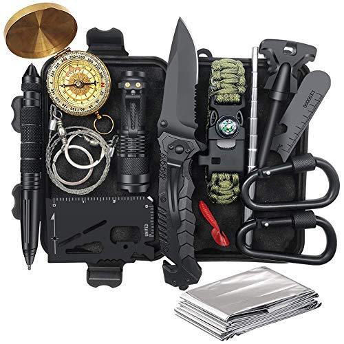 Unihoh Survival Kit 15 in 1, Außen Survival Werkzeuge Set mit Rettungsdecke Taktikstift Taschenlampe Zange Drahtsäge, Survival Ausrüstung für Abenteuer Camping Wandern