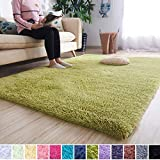 Noahas Super Soft Modern Shag Area Rugs Fluffy Living Room Carpet Comfy Bedroom Home Decorate Floor Kids Playing Mat 5.3 Feet by 7.5 Feet, Green