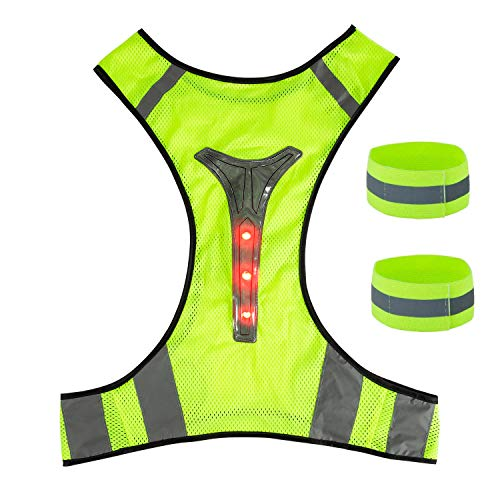 ZWOOS LED Reflective Vest with Wristbands, High Visibility Adjustable Reflective Gear for Running, Cycling and Jogging