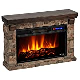 e-Flame USA Telluride LED Electric Fireplace Stove with Faux Wood and Stone Mantel - Remote - 3D Log and Fire