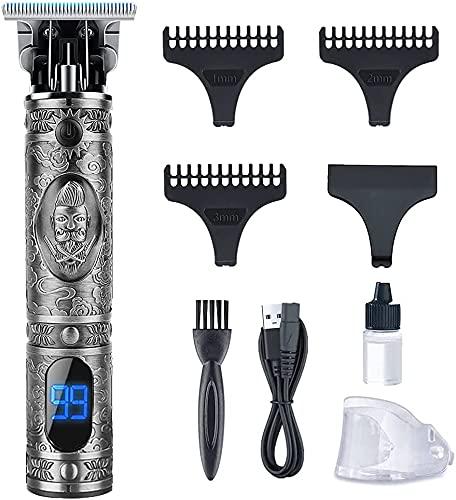 Tondeuse Cheveux Hommes,Tondeuse Barbe Electriques Professionnelle, Sans Fil Tondeuse à Cheveux Rasoir Barbe Tondeuse Kit, Écran à LED, Rechargeable USB, Silencieuse pour Usage Domestique