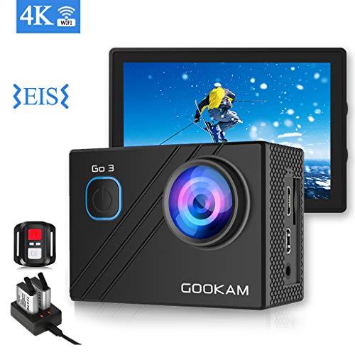 GOOKAM Action Cam 4K WiFi 20MP action Camera Subacquea Fotocamera Impermeabile EIS 40M con Microfono Esterno Telecomando 2.4G Telecamera Sportiva Ultra HD e Due Batterie