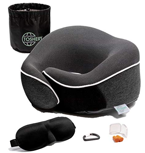 TOSHERY Travel Neck Pillow, Full Head Support, Comfortable, Breathable, Machine Washable Cover, Travel Kit with 3D Eye Mask, Earplugs, Carabiner clamp