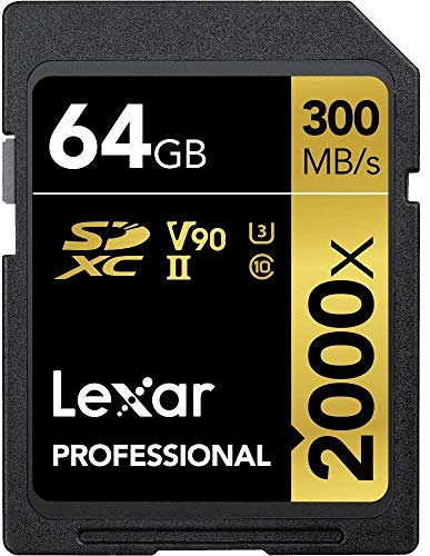 (64GB, 2000x Speed (300MB/s)) - Lexar Professional 64 GB Class 10 UHS-II 2000x Speed (300 MB/s) SDXC...