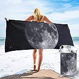 Lawenp Toalla de Playa de Secado rápido, Luna Gigante en el Cielo Estrellado Toallas de baño Ligeras de Microfibra Impresas súper absorbentes para niños y Adultos 31.5 'X63'